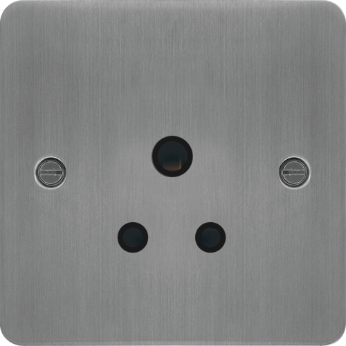WFS51BSB 5A 1 Gang Unswitched Socket Brushed Steel Black Insert