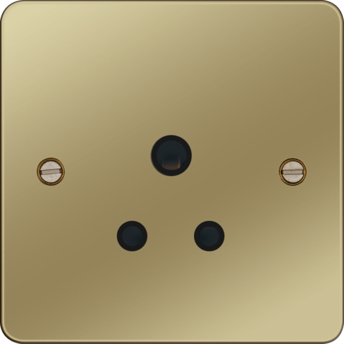 WFS51PBB 5A 1 Gang Unswitched Socket Polished Brass Black Insert
