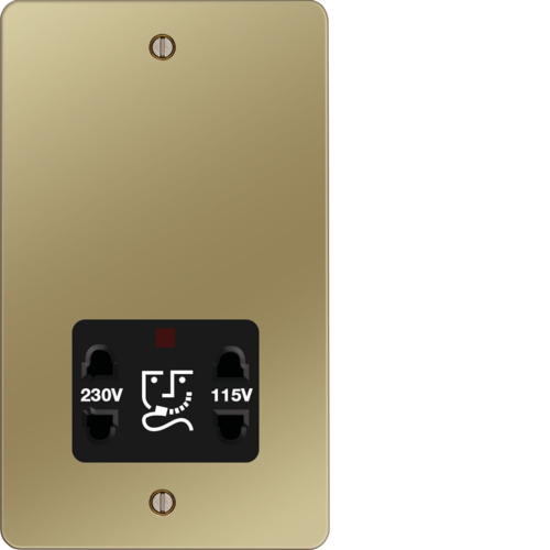 WFSO100PBB 115/230V Shaver Outlet Polished Brass Black Insert