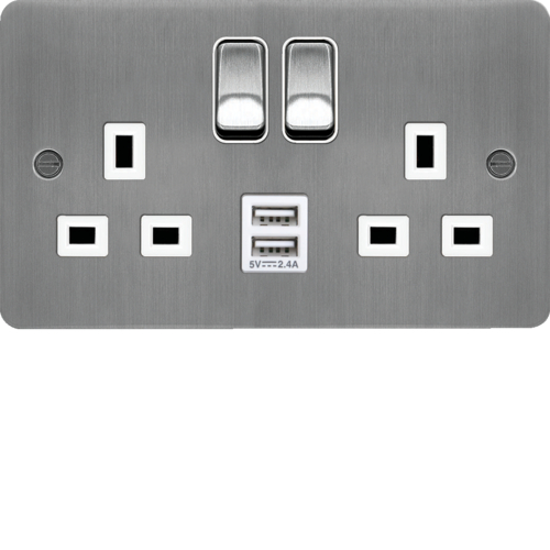 WFSS82BSW-USBS 13A 2 Gang Double Pole Switched Socket c/w Twin USB Ports Brushed Steel White