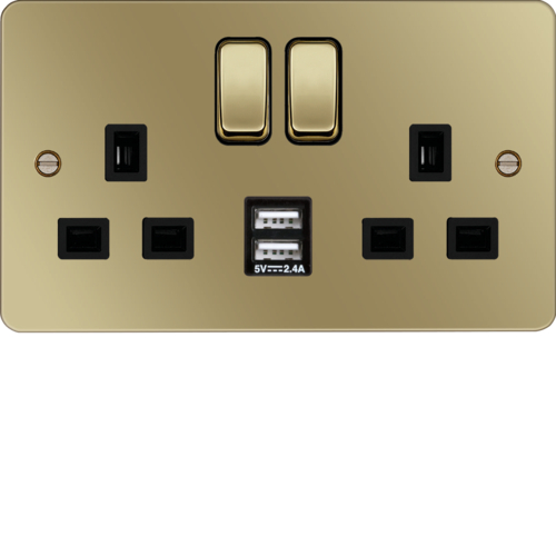 WFSS82PBB-USBS 13A 2 Gang Double Pole Switched Socket c/w Twin USB Ports Polished Brass Black