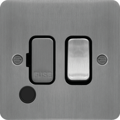 WFSSU83FOBSB 13A  FCU Switched with Flex Outlet Brushed Steel Black Insert