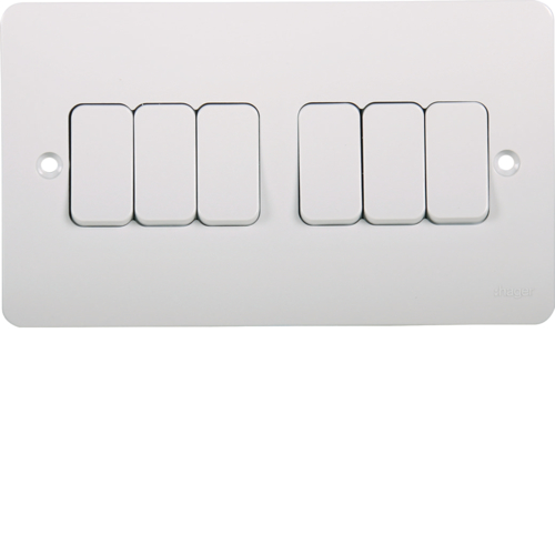 WMPS62 10AX 6 Gang 2 Way Wall Switch