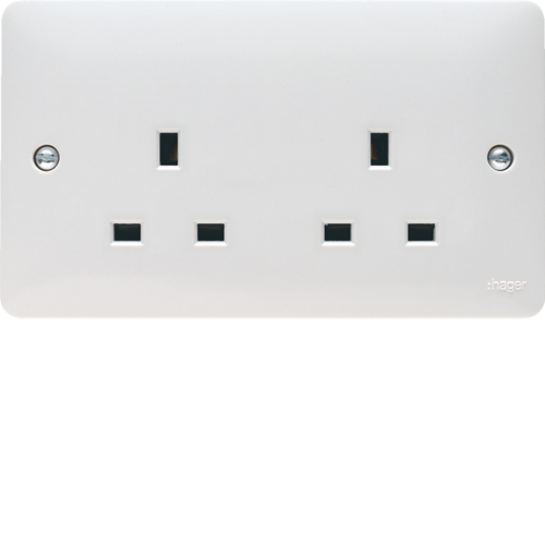 WMS82 13A 2 Gang Unswitched Socket Dual Earth
