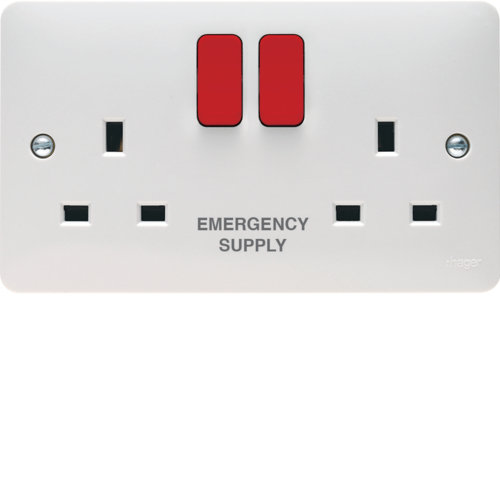 WMSS82R/ES 2 Gang Double Pole Switched Socket Dual Earth Red Rocker Markd EMERGENCY SUPPLY