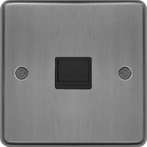 WRBTMBSB Master Telephone Socket Brushed Steel Black Insert