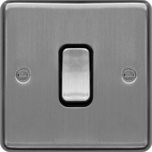 WRDP84BSB 20A Double Pole Switch Brushed Steel Black Insert