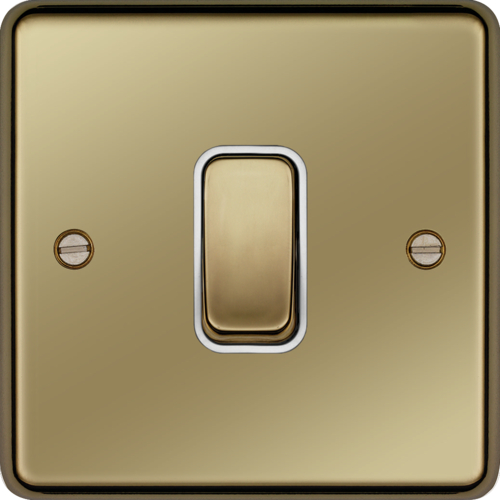 WRDP84PBW 20A Double Pole Switch Polished Brass White Insert