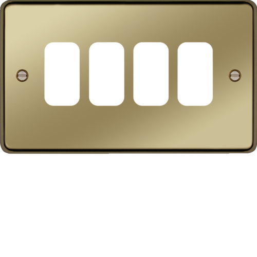 WRGP4PB Grid Front Plate 1 X 4 Polished Brass
