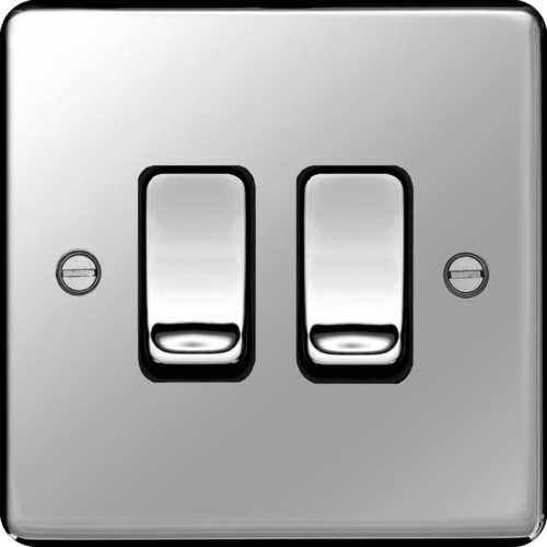 WRPS22PSB 10AX 2 Gang 2 Way Wall Switch Polished Steel Black Insert