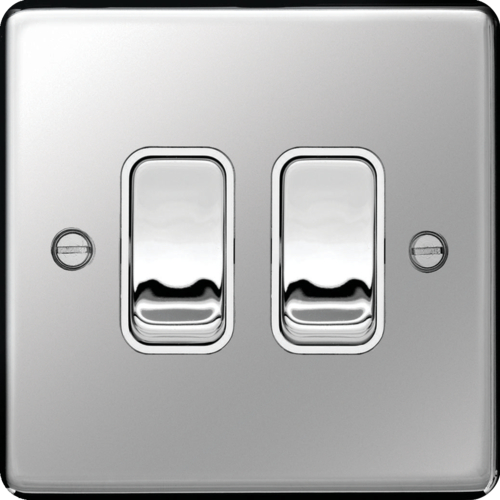 WRPS22PSW 10AX 2 Gang 2 Way Wall Switch Polished Steel White Insert