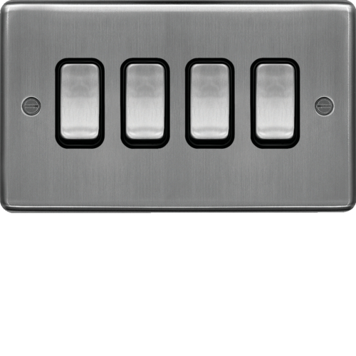 WRPS42BSB 10AX 4 Gang 2 Way Wall Switch Brushed Steel Black Insert
