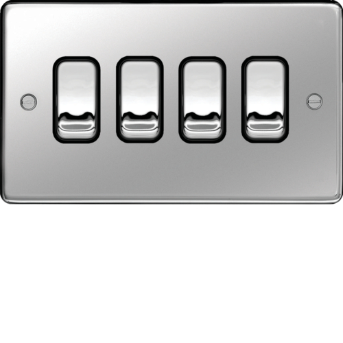 WRPS42PSB 10AX 4 Gang 2 Way Wall Switch Polished Steel Black Insert