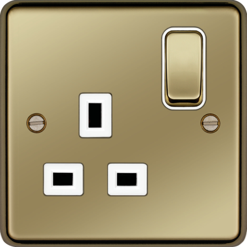 WRSS81PBW 13A 1 Gang Double Pole Switched Socket Polished Brass White Insert