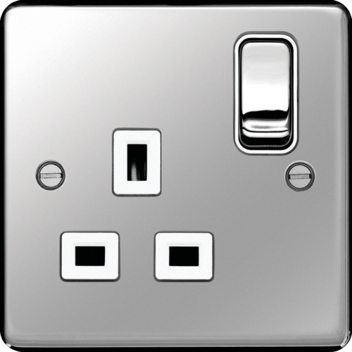 WRSS81PSW 13A 1 Gang Double Pole Switched Socket Polished Steel White Insert