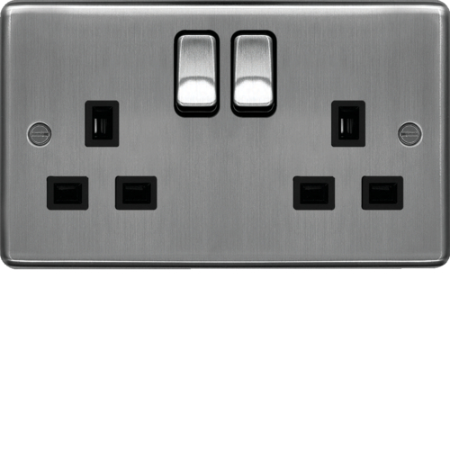 WRSS82BSB 13A 2 Gang Double Pole Switched Socket Brushed Steel Black Insert