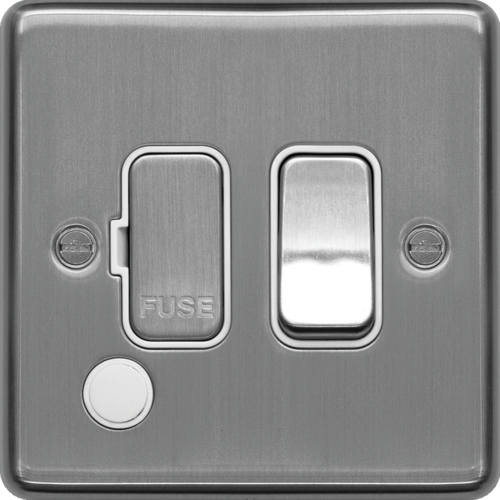 WRSSU83FOBSW 13A  FCU Switched with Flex Outlet Brushed Steel White Insert