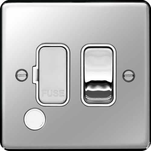 WRSSU83FOPSW 13A FCU Switched with Flex Outlet Polished Steel White Insert