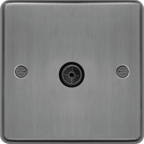 WRTVFBSB Single Co-ax TV Outlet Female Brushed Steel Black Insert