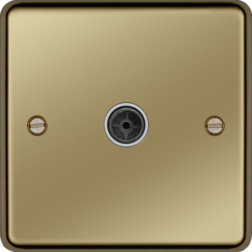 WRTVFPBW Single Co-ax TV Outlet Female Polished Brass White Insert