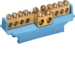 KM10N Brass terminal,  8x10mm² -2x16mm²(double drive), with mounting base,   Color: blue