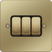 WFPS32PBB 10AX 3 Gang 2 Way Wall Switch Polished Brass Black Insert