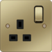 WFSS81PBB 13A 1 Gang Double Pole Switched Socket Polished Brass Black Insert