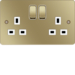 WFSS82PBW 13A 2 Gang Double Pole Switched Socket Polished Brass White Insert