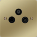 WFTXPBB Triplexer TV,  FM/DAB & Satellite Outlet Polished Brass Black Insert