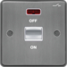 WRDP50NBSW 50A Double Pole Switch 1 Gang with LED Indicator Brushed Steel White Insert