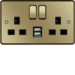 WRSS82PBB-USBS 13A 2 Gang Double Pole Switched Socket c/w Twin USB Ports Polished Brass Black