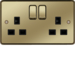 WRSS82PBB 13A 2 Gang Double Pole Switched Socket Polished Brass Black Insert