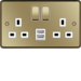 WRSS82PBW-USBS 13A 2 Gang Double Pole Switched Socket c/w Twin USB Ports Polished Brass White